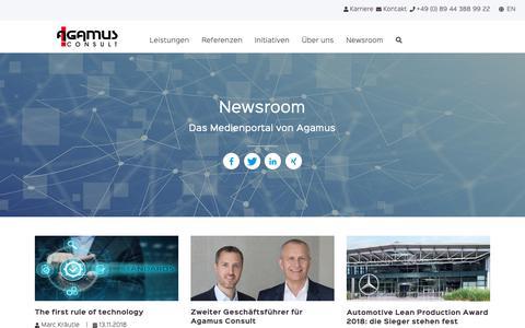 Screenshot of Press Page agamus.com - Newsroom - captured Nov. 12, 2018