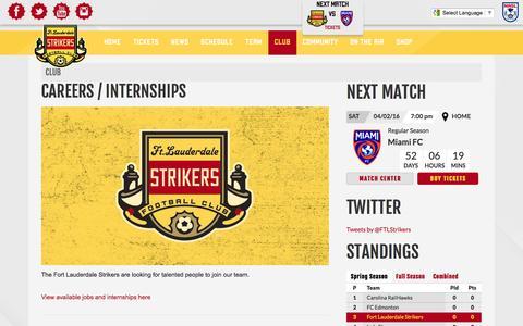 Screenshot of Jobs Page strikers.com - Careers / Internships | Fort Lauderdale Strikers - captured Feb. 10, 2016