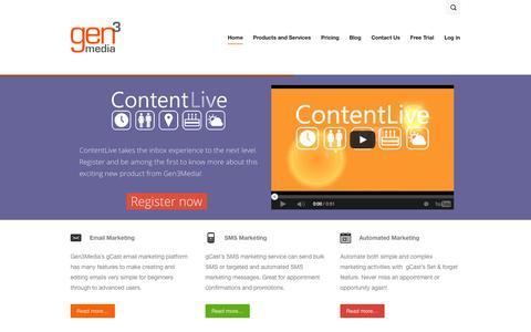 Screenshot of Home Page gen3media.com.au - Email Marketing | Gen3Media | - captured Sept. 29, 2014