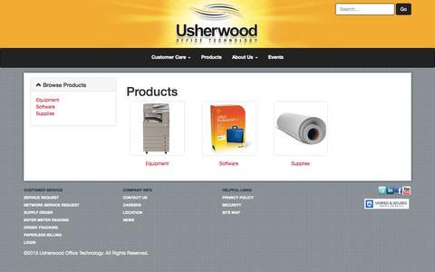 Screenshot of Products Page usherwood.com - Usherwood webStore - Products - captured Oct. 26, 2014