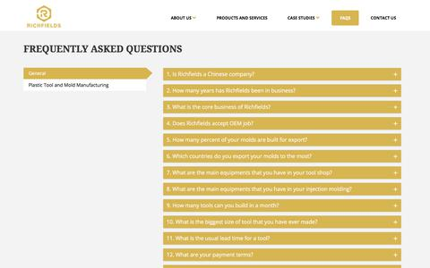 Screenshot of FAQ Page richfieldsplastics.com - Frequently Asked Questions | Richfields Corporation - captured Oct. 22, 2017