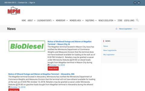 Screenshot of Press Page mpmaonline.com - News – MPMA - captured Oct. 18, 2018