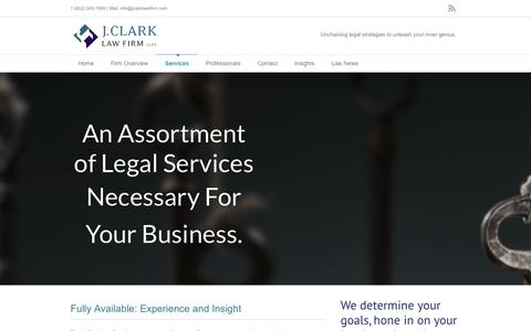 Screenshot of Services Page jclarklawfirm.com - J Clark Law Firm, PLLC   –  Services - captured Sept. 30, 2014