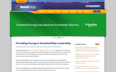 Screenshot of Home Page summitenergy.com - Energy Management and Sustainability Services : Summit Energy - captured Oct. 1, 2014
