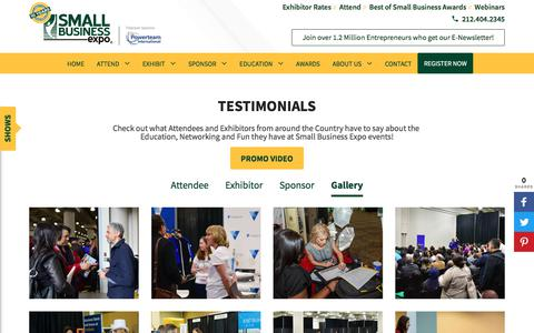 Screenshot of Testimonials Page thesmallbusinessexpo.com - Testimonial Gallery - Event Reviews | Small Business Expo - captured April 19, 2018
