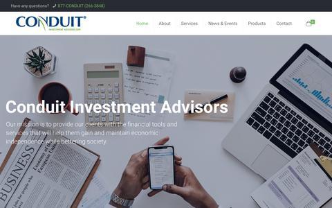 Screenshot of Home Page conduitadvisors.com - Home | Conduit Investment Advisors - captured Sept. 29, 2018