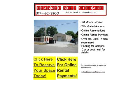 Screenshot of Home Page reasnerselfstorage.com captured Sept. 30, 2014
