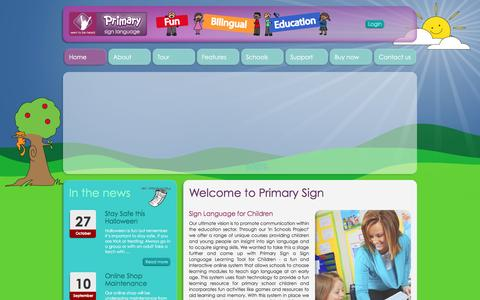 Screenshot of Home Page primarysign.com - Sign Language for Children - Primary Sign - captured Feb. 4, 2016