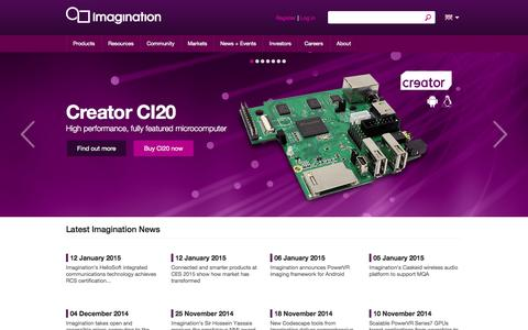 Screenshot of Home Page imgtec.com - Imagination Technologies - Developing and Licensing IP cores for Graphics, Video, Communications and Processing - captured Jan. 15, 2015