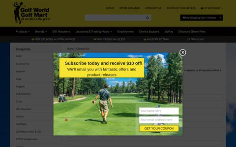 Screenshot of Contact Page golfworld.com.au - Contact Us - captured Oct. 30, 2017