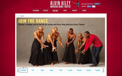 Screenshot of Support Page alvinailey.org - Support | Alvin Ailey American Dance Theater - captured Sept. 19, 2014