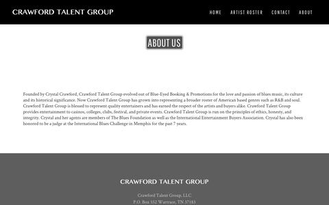 Screenshot of About Page crawfordtalentgroup.com - About Us | Crawford Talent Group - captured Nov. 22, 2016