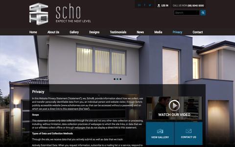 Screenshot of Privacy Page schohomes.com.au - Privacy | SCHO Homes - captured Oct. 4, 2014