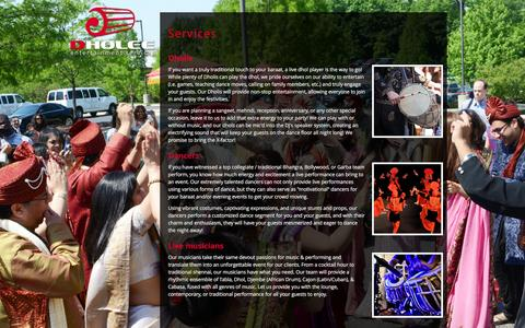 Screenshot of Services Page dholee.com - Dholee Entertainment Services - captured Feb. 9, 2016