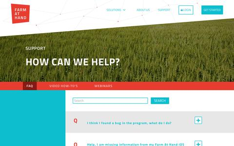 Screenshot of Support Page farmathand.com - Support   Farm at Hand - captured July 13, 2018