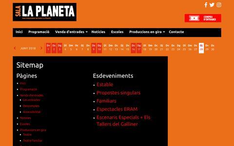 Screenshot of Site Map Page laplaneta.cat - Sitemap | Sala independent de teatre La Planeta - captured June 28, 2018