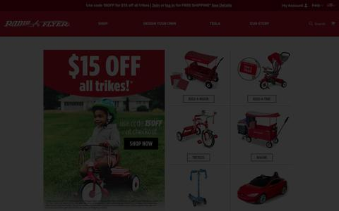 Screenshot of Home Page radioflyer.com - Radio Flyer: Makers of the Little Red Wagon and Tricycle - captured Sept. 21, 2019