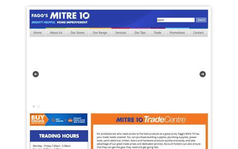 Screenshot of Home Page faggs.com.au - Fagg's Mitre 10 - Geelong, Wallington, Timber, Hardware - captured Oct. 5, 2014