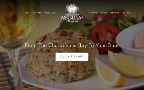 Screenshot of Home Page crabcake.com - Angelina's of Maryland - captured Nov. 20, 2016