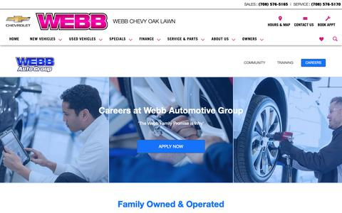Screenshot of Jobs Page webbchevroletoaklawn.com - Webb Chevy Oak Lawn is a Oak Lawn Chevrolet dealer and a new car and used car Oak Lawn IL Chevrolet dealership - Careers - captured Oct. 20, 2018