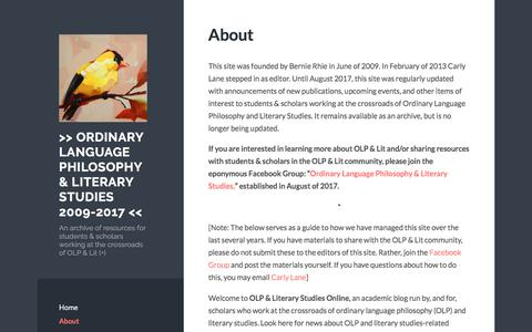 Screenshot of About Page wordpress.com - About | >> Ordinary Language Philosophy & Literary Studies 2009-2017 << - captured March 7, 2018