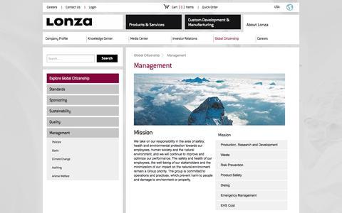 Screenshot of Team Page lonza.com - Management - captured Sept. 13, 2014