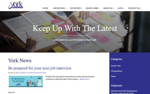 Screenshot of Blog Press Page yorkemployment.com - Blog - York Employment Services, Inc. - captured Sept. 24, 2018