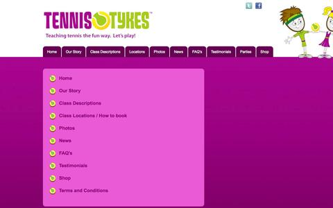 Screenshot of Site Map Page tennistykes.co.uk - Sitemap | Tennis coaching for kids in Harrogate, Ripon, York, Wetherby and Leeds | Tennis Tykes - captured Oct. 7, 2014