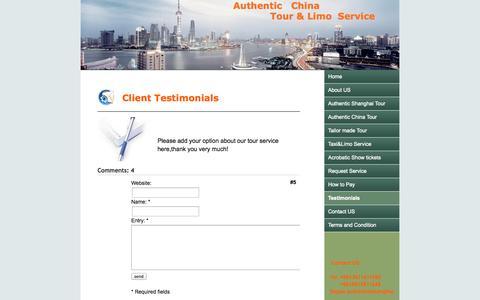 Screenshot of Testimonials Page jimdo.com - Testimonials - Authentic Shanghai Tour - captured Sept. 16, 2014