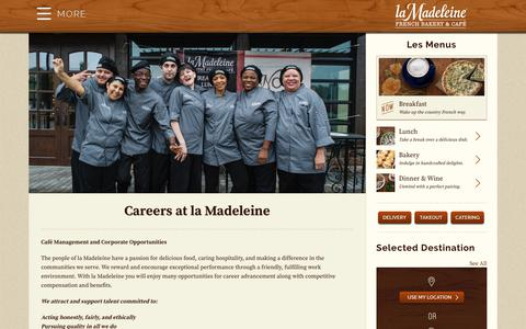 Screenshot of Jobs Page lamadeleine.com - Careers at la Madeleine - La Madeleine - captured Oct. 9, 2017