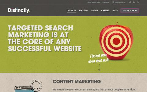 Screenshot of Services Page distinctly.co - Search Marketing Services - captured Oct. 30, 2014
