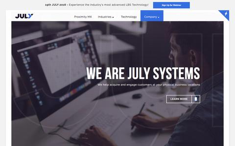 Screenshot of About Page julysystems.com - Among the Best Location Based Technology Companies - captured July 7, 2016