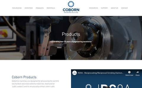 Screenshot of Products Page coborn.com - Diamond tool grinding and quality laser cutting machines - captured Dec. 15, 2018