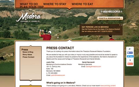 Screenshot of Press Page medora.org - Medora - Explore it. Adore it. | Press Contact - captured June 11, 2016