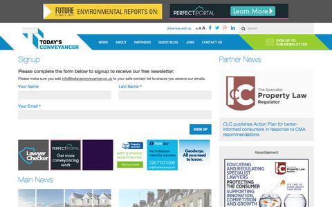 Screenshot of Signup Page todaysconveyancer.co.uk - Today's Conveyancer newsletter signup - captured June 30, 2017