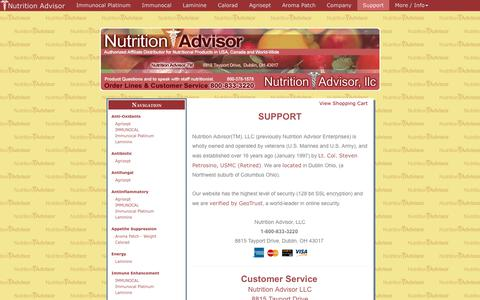 Screenshot of Support Page nutritionadvisor.com - Nutrition Advisor: Support and Contact Information. 800-378-1578 Toll Free.  January 20, 2018 - captured Oct. 20, 2018