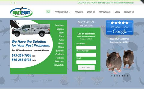 Screenshot of Home Page bestpestsolutions.com - Pest Control Kansas City – Best Pest Solutions – Bugs, Mice, Rats, termites, bed bugs, ants, silverfish etc. - captured Oct. 10, 2017