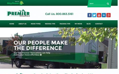 Screenshot of Home Page premier-mayflower.com - Professional Movers in Michigan   Premier Relocations - captured Jan. 31, 2016