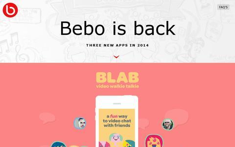 Screenshot of Home Page bebo.com - Bebo - captured July 11, 2014