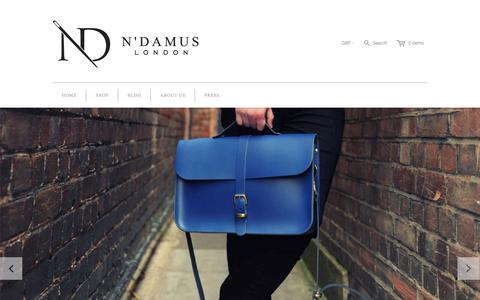 Screenshot of Home Page ndamus.com - N'Damus London - captured Oct. 6, 2014