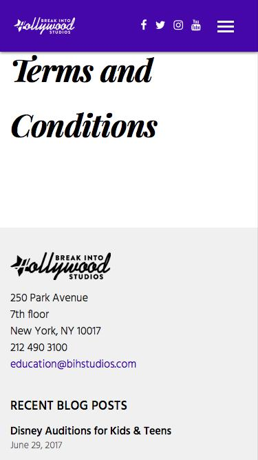 Screenshot of Support Page Terms Page  breakintohollywoodstudios.com - Terms and Conditions |