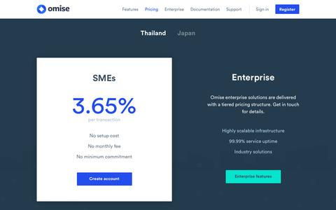 Screenshot of Pricing Page omise.co - Omise: Simple Pricing - captured March 15, 2017