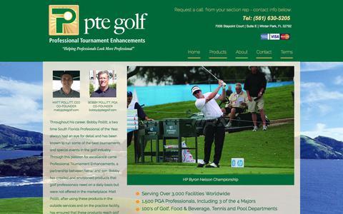 Screenshot of About Page ptegolf.com - About - captured Sept. 26, 2018