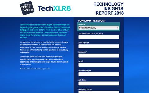 Screenshot of Landing Page knect365.com - The London Tech Weel & TechXLR8 Technology Insights Report 2018 - captured Sept. 19, 2018