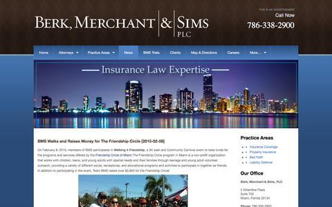 Screenshot of Press Page berklawfirm.com - News - Berk, Merchant & Sims, PLC - captured Nov. 22, 2016