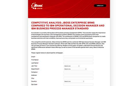 Screenshot of Landing Page redhat.com - Competitive Analysis - JBoss Enterprise BRMS compared to IBM Operational Decision Manager and IBM Business Process Manager Standard - captured Feb. 13, 2016