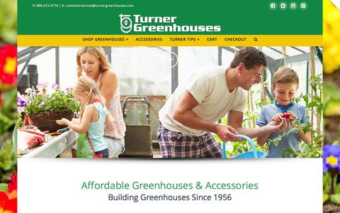 Screenshot of Home Page turnergreenhouses.com - Turner Greenhouses | Affordable Greenhouses, Greenhouse Supplies, Growing tips & More. - captured June 19, 2015