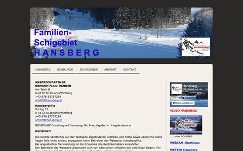 Screenshot of About Page jimdo.com - Impressum - www.hansberg.at - captured March 31, 2017