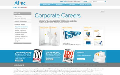Screenshot of Jobs Page aflac.com - Insurance Jobs & Career Opportunities at Aflac - captured Sept. 18, 2014