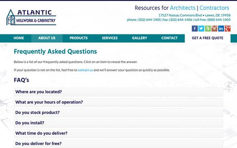 Screenshot of FAQ Page atlanticmillwork.com - Frequently Asked Questions | Atlantic Millwork & Cabinetry - captured Oct. 4, 2018